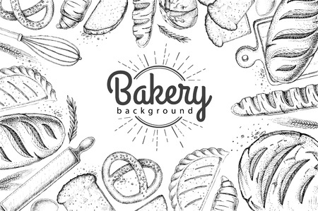 Bakery background. Top view of bakery products