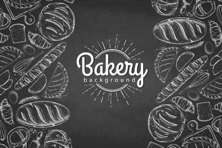 Kreidezeichnung Bäckerei Hintergrund. Draufsicht auf Backwaren