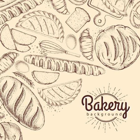 Bäckerei Hintergrund. Draufsicht auf Backwaren