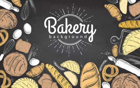 Chalk drawing Bakery background. Top view of bakery products