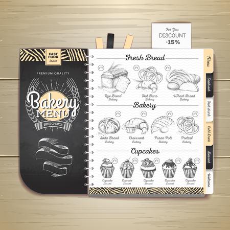Conception de menus de boulangerie dessin craie vintage. Menu du restaurant Vecteurs