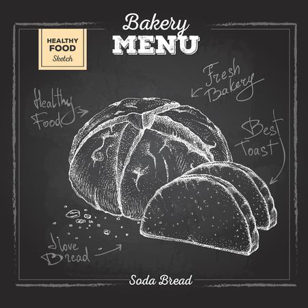 Chalk drawing bakery food illustration. Soda bread Illustration