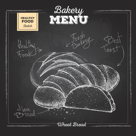 Chalk drawing bakery food illustration. Different types of bread  イラスト・ベクター素材