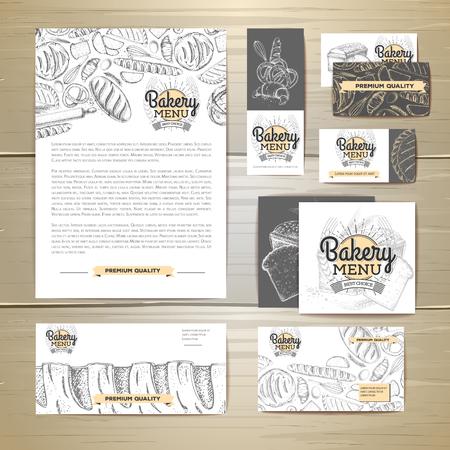 Bakery menu document template. Corporate identity Иллюстрация