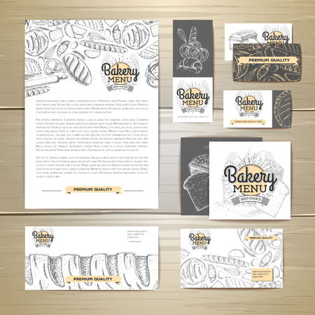 Bakery menu document template. Corporate identity Illustration