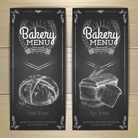 Vintage chalk drawing bakery menu design. Restaurant menu