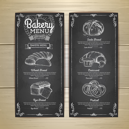 Chalk drawing restaurant label bakery menu design