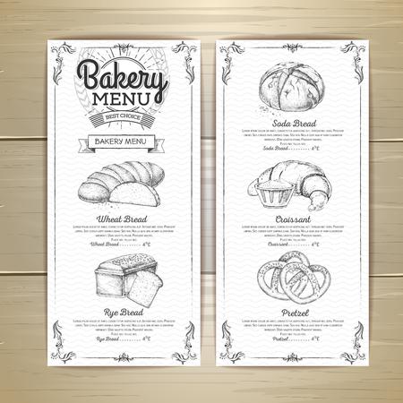 Diseño de menú de panadería vintage. Menú del restaurante. Documento ejemplar