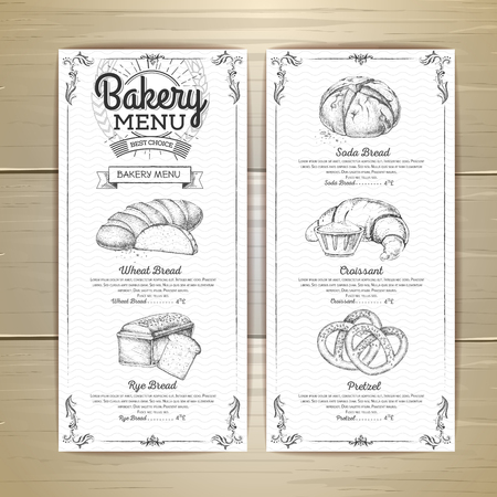 Wygląd menu Vintage piekarnia. Menu restauracji. Szablon dokumentu