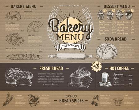 Vintage cardboard bakery menu design Restaurant menu