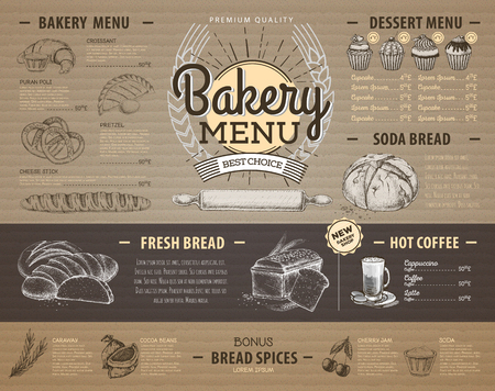 Vintage cardboard bakery menu design Restaurant menu