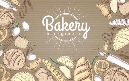 Fond de boulangerie. Vue de dessus des produits de boulangerie sur fond de carton