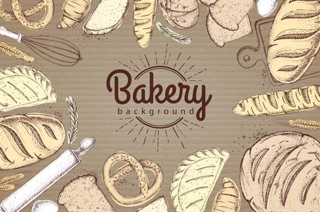 Weinlesebäckerei-Menüentwurf auf Papphintergrund-Restaurantmenü