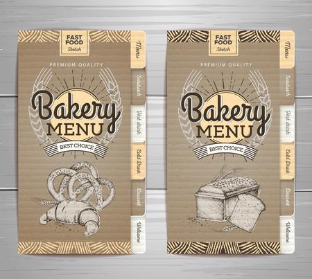 Vintage bakery menu design on cardboard background Restaurant menu