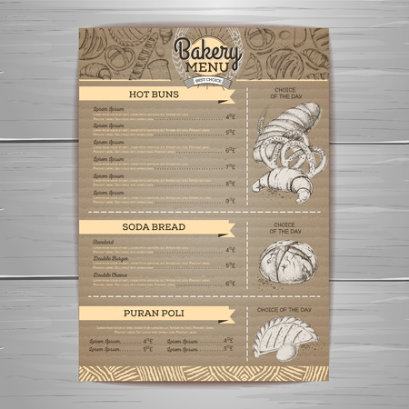 Vintage bakery menu design on cardboard background Restaurant menu