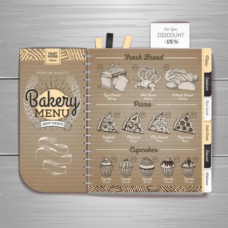 Vintage bakery menu design on cardboard background Restaurant menu 免版税图像 - 106581839