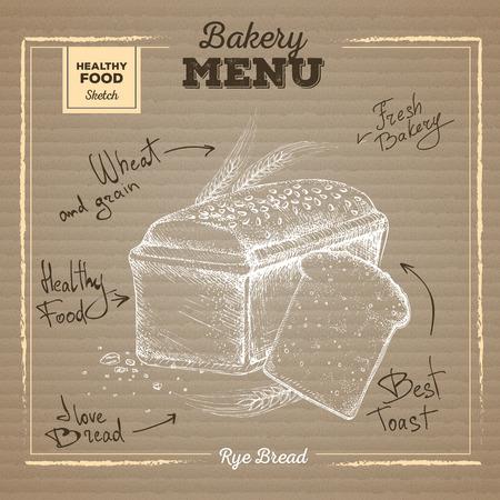 Bakery food illustration on cardboard background. Rye bread