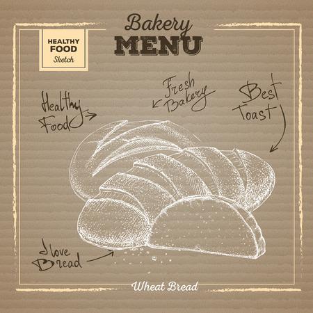 Bakery food illustration on cardboard background. Wheat bread