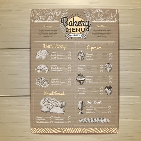 Diseño de menú de panadería retro sobre fondo de cartón Menú de restaurante