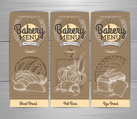 Retro bakery menu design on cardboard background Restaurant menu