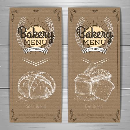 Retro bakery menu design on cardboard background Restaurant menu