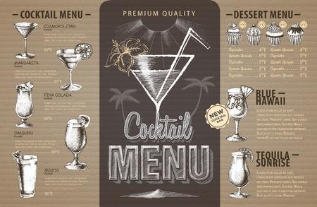 Diseño de menú de cócteles retro sobre cartón. Menú de comida rápida