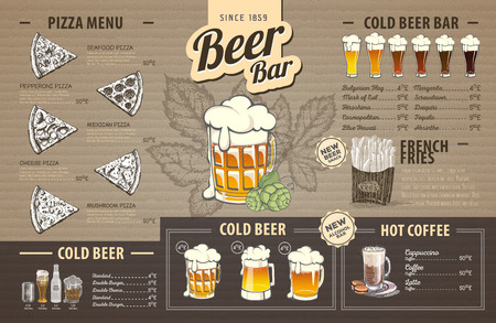 Retro beer menu design on cardboard. Restaurant menu