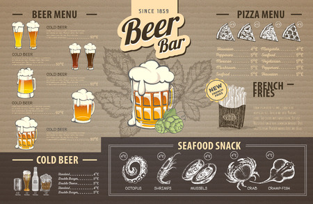 Retro biermenu-ontwerp op karton. Restaurant menu