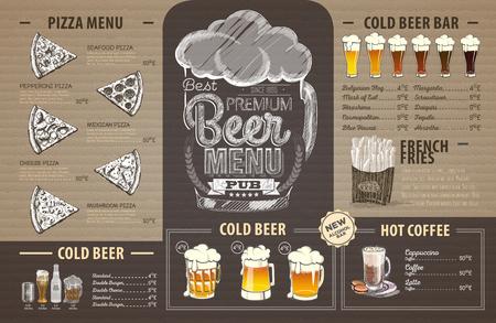 Retro beer menu design on cardboard. Restaurant menu
