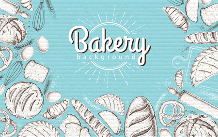 Bakery background. Top view of bakery products on cardboard background
