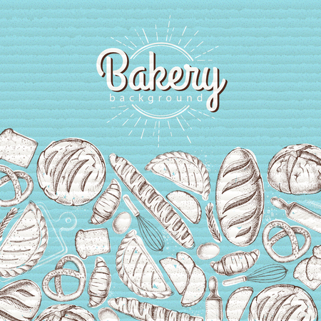 Bakery background. Top view of bakery products on cardboard background 向量圖像