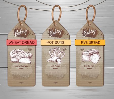 Set of Restaurant labels of bakery menu design