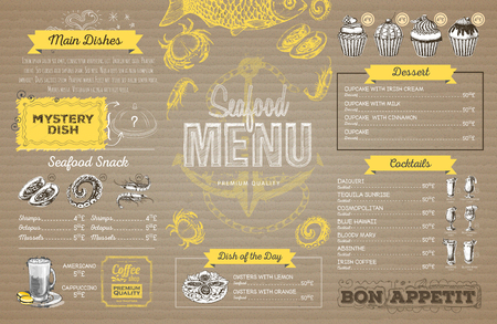 Retro seafood menu design on cardboard. Restaurant menu