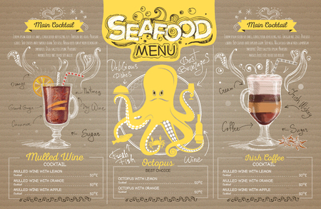 Retro seafood menu design on cardboard. Restaurant menu