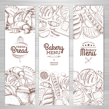 Set of retro bakery banners. Bakery products illustration