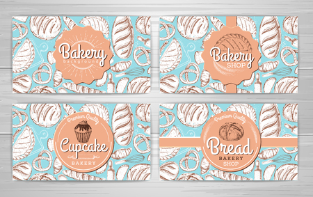 Set of retro bakery banners or cards. Bakery products illustration