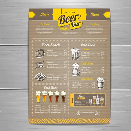 Vintage beer menu design on cardboard background.