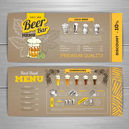 Progettazione di menu di birra vintage su sfondo di cartone. Vettoriali