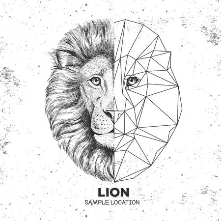 Faccia di leone realistico e poligonale animale hipster