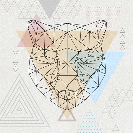 Abstract polygonal tirangle animal cheetah. Hipster animal illustration. Illusztráció
