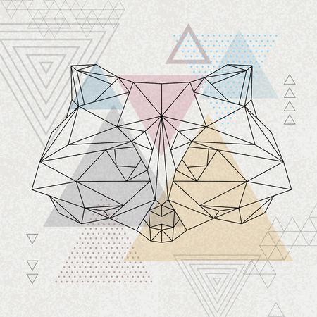 Raton laveur animal tirangle polygonale abstraite. Illustration animale de hipster.