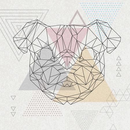 Abstract polygonal tirangle animal pug-dog. Hipster animal illustration. Stock Illustratie