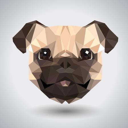 Abstract polygonal tirangle animal pug-dog. Hipster animal illustration. Illusztráció