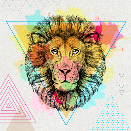 Hipster animal lion on an organic polygon watercolor background