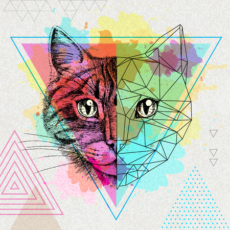 Hipster animal realistic and polygonal cat on an artistic watercolor background