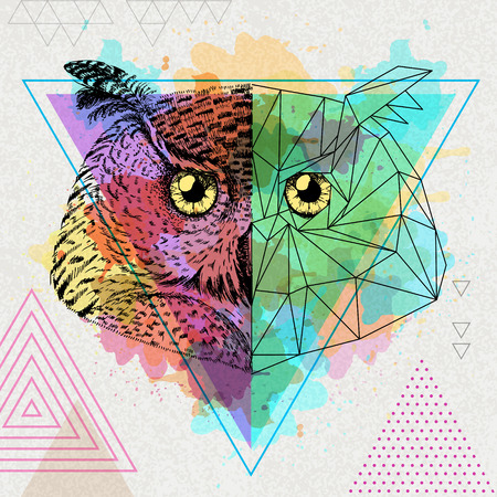 Hipster animal realistic and polygonal owl on water watercolor background