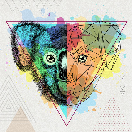 Koala realistico e poligonale animale hipster su uno sfondo acquerello artistico