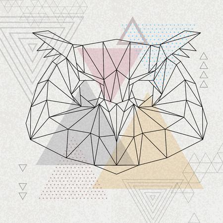 Abstract polygonal tirangle bird owl. Hipster animal illustration.