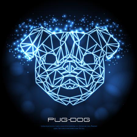 Abstract polygonal tirangle animal pug-dog neon sign. Hipster animal illustration. Vectores