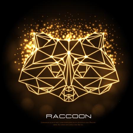 Abstract polygonal tirangle animal raccoon neon sign. Hipster animal illustration.